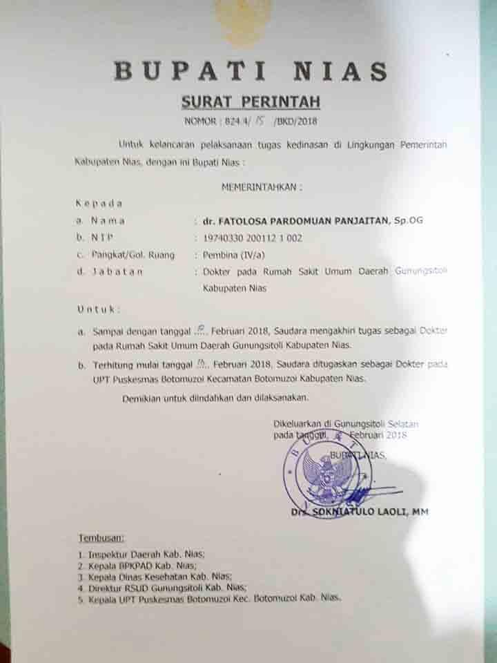 Surat Perintah Bupati Nias Terkait Pemindahan Dokter Ke
